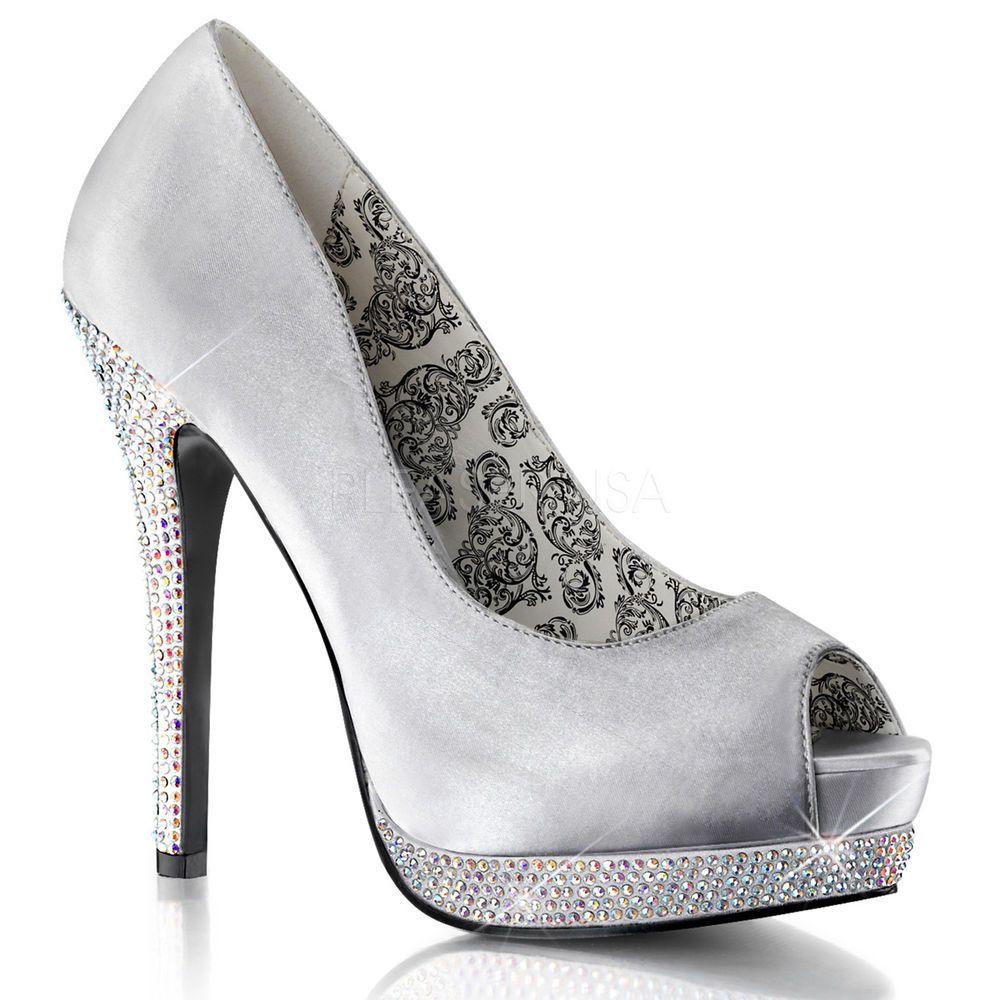 New Bordello BELLA 12R Silver Spiked Stiletto Satin Peep Toe 5.25 inch High Heel #PleaserBordello #PumpsClassics #Party