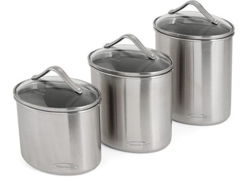 Calphalon 3 Pc Stainless Steel Canister Set Oval At