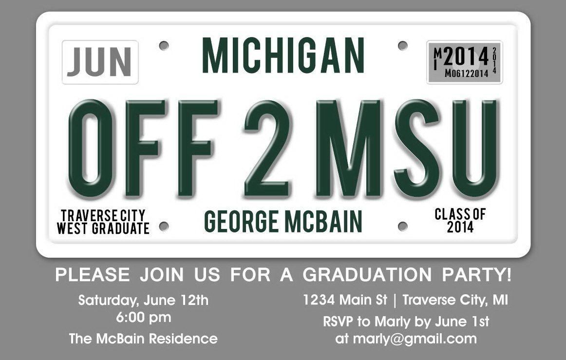 License Plate Graduation Party Invitation Unique Grad Holiday
