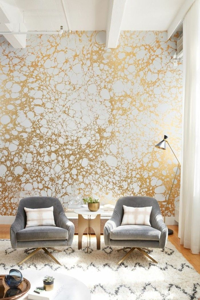 tapeten ideen ausgefallene tapete in gold wei wanddekoration interior wallpapers farben. Black Bedroom Furniture Sets. Home Design Ideas