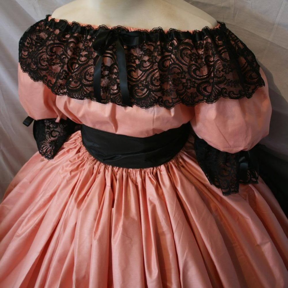Custom size CIVIL WAR belle-Taffeta peach/BLK Formal 3/4 sleeves ...