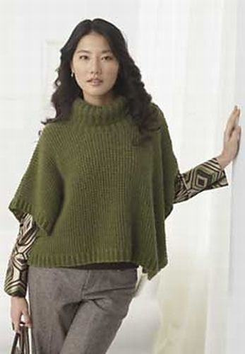 Womens Cable Pattern Lightweight Kintted Poncho Sweater with Shell Button Scarf