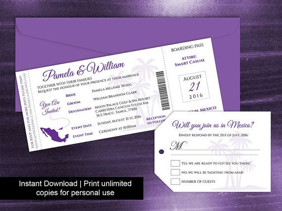 Diy Printable Wedding Boarding Pass Luggage Tag Template