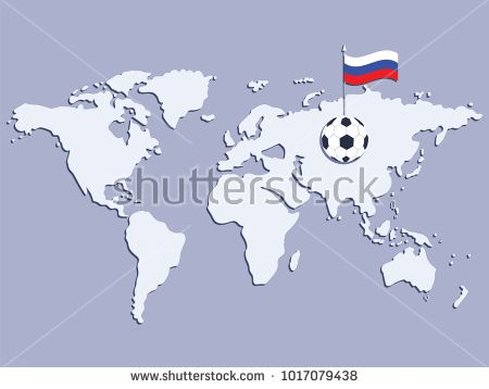 Soccer ball with the flag of russia on the world map light soccer ball with the flag of russia on the world map light background vector sciox Image collections