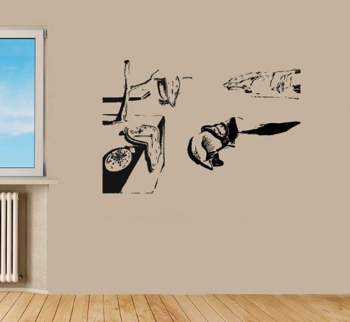 Housewares Vinyl Decal Dali Melting Clock Reproduction Home Wall Art Decor Removable Stylish Sticker Mur Wall Decal Clock Stylish Stickers Vinyl Decal Stickers