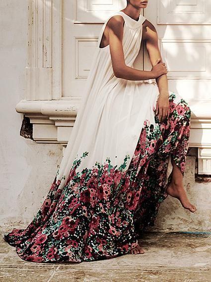 Floral Printed Halterneck Big Hem Maxi Dress #dress #maxi
