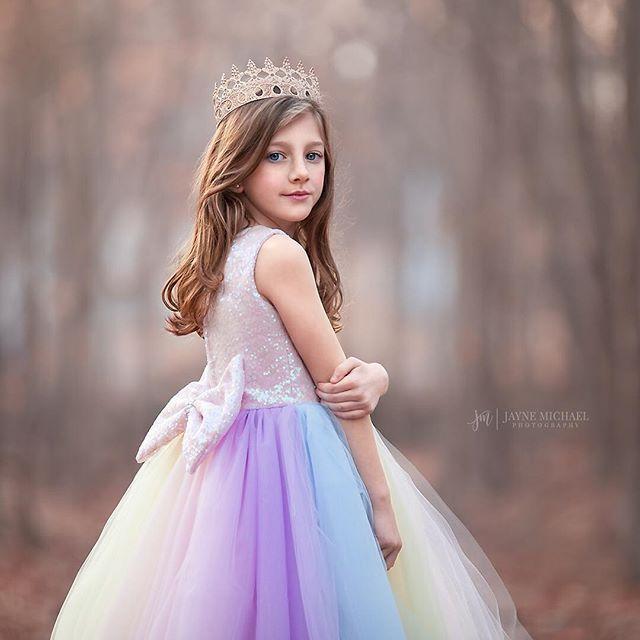 Pastel Unicorn Glam Tutu Dress Summer Flower Girl Dresses Rainbow Dress Flower Girl Dresses
