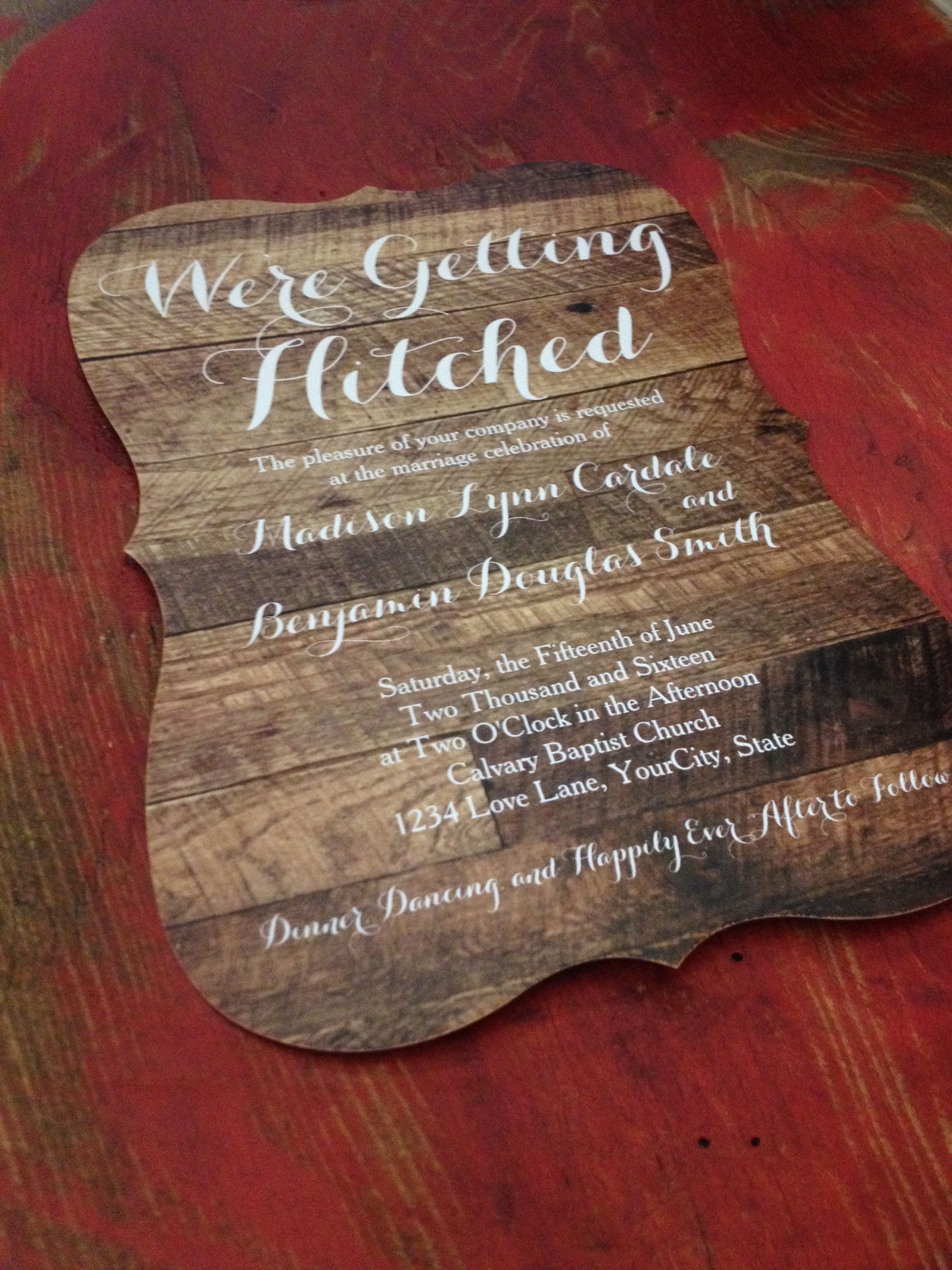 Getting Hitched Barn Wood Wedding Invitations on a hourglass frame ...