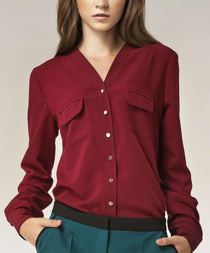chemisier chemise rouge bordeaux femme chic original b31. Black Bedroom Furniture Sets. Home Design Ideas