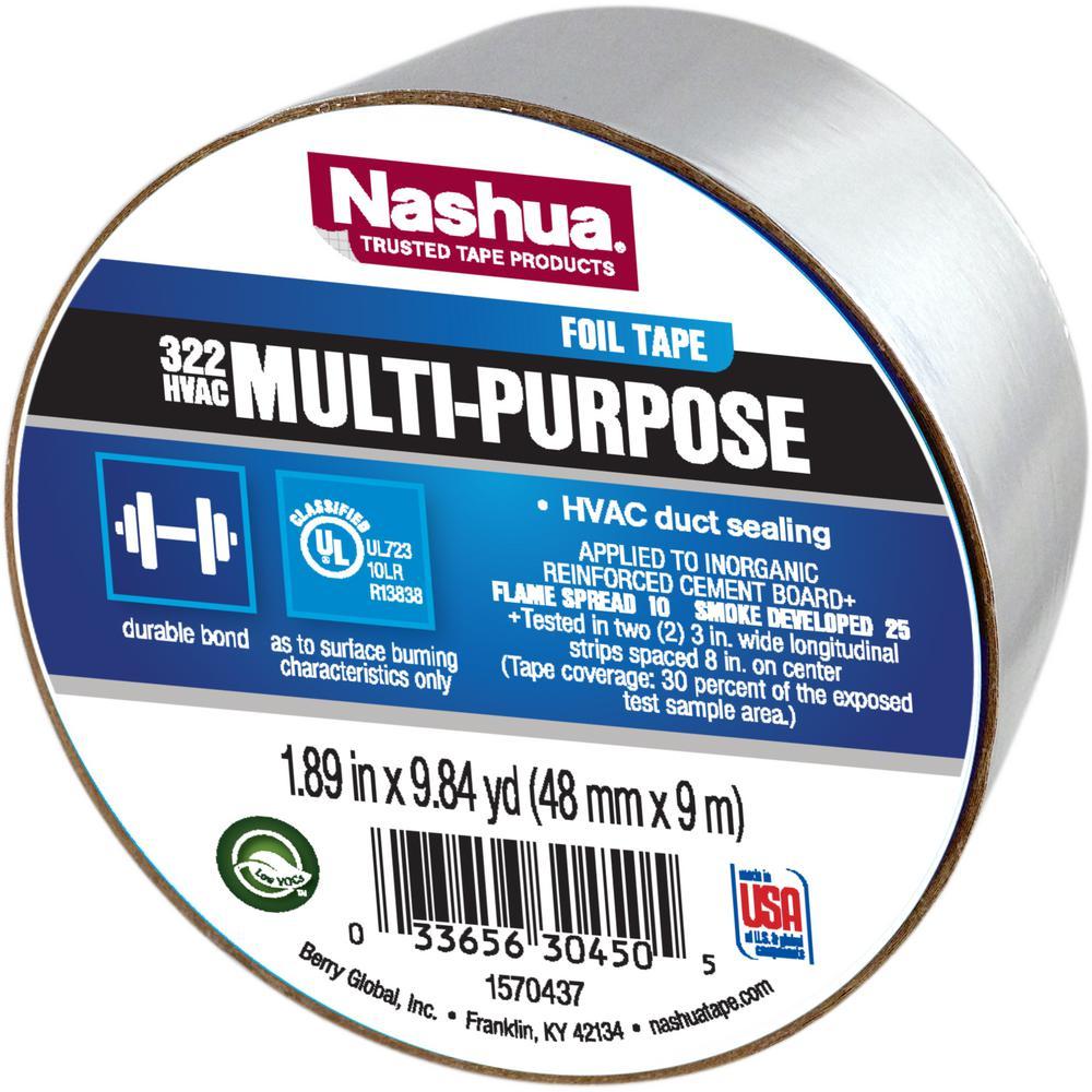 Nashua Tape 1 89 In X 9 8 Yds 322 Multi Purpose Hvac Foil Tape 1198777 The Home Depot In 2020 Foil Tape Nashua Tape Tape