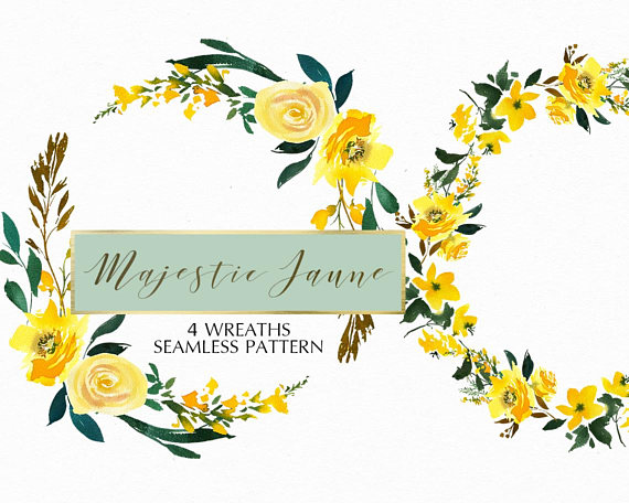 Yellow Watercolor Floral Wreaths Clipart Set Wedding Hand
