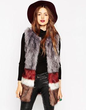 ASOS Faux Fur Gilet in Stripe