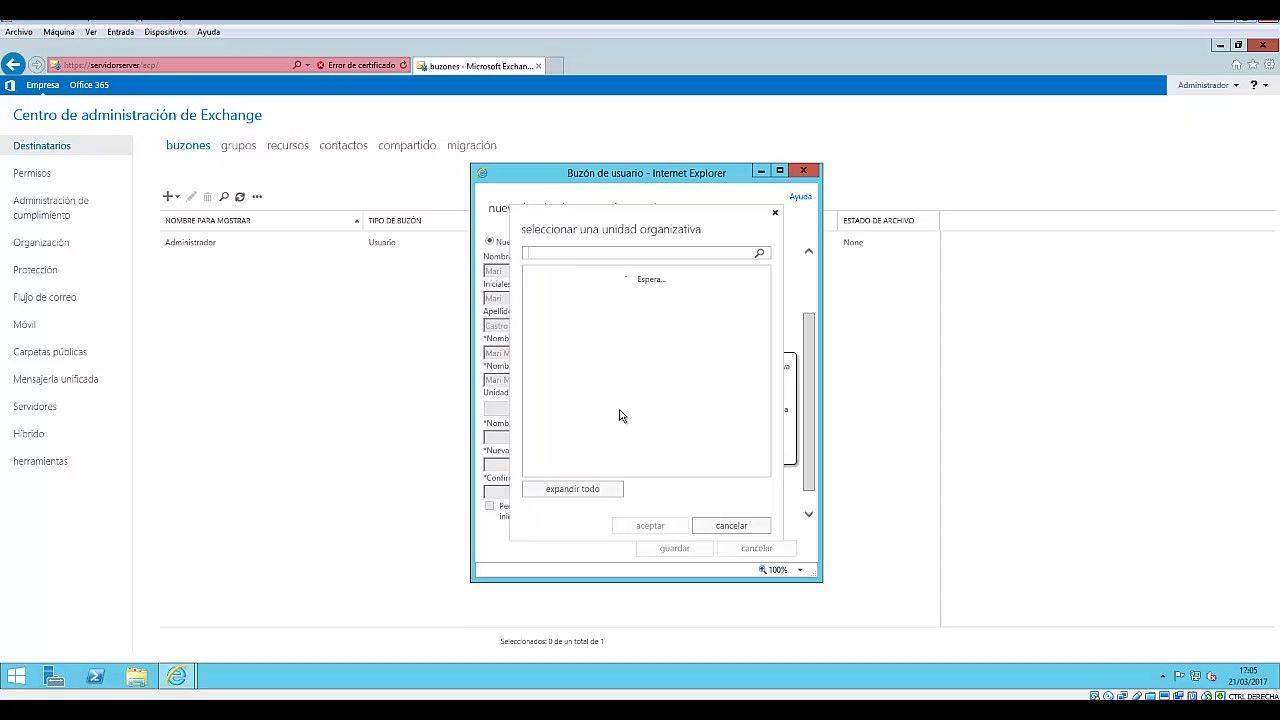 Crear un buzonde usuario en microsoft exchange