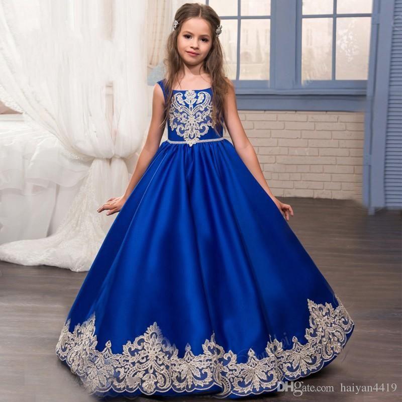 60643e74 New 2017 Girls Pageant Dresses Princess Royal Blue Square Neck Lace ...