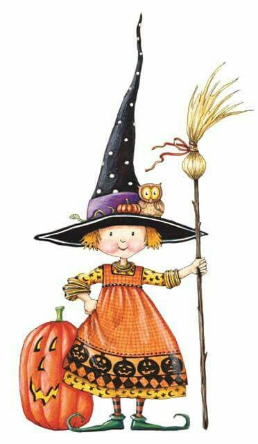 halloween witch with pumpkin broomstick and owl mary engelbreit cute art - Cute Halloween Witches