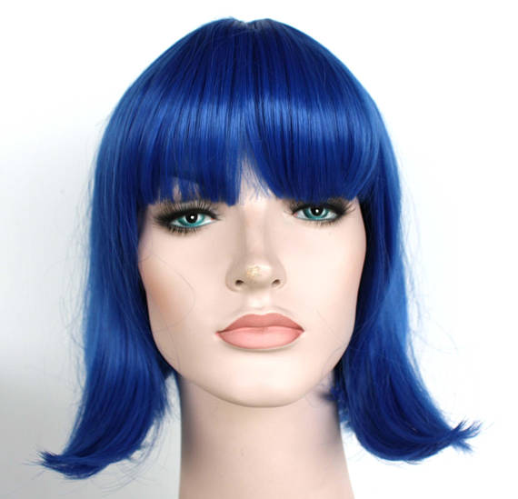 Blue Bob Wig With Bangs Women S Halloween Costume Wig For Sale Ready To Ship Wigs With Bangs Short Wigs Halloween Costume Wigs