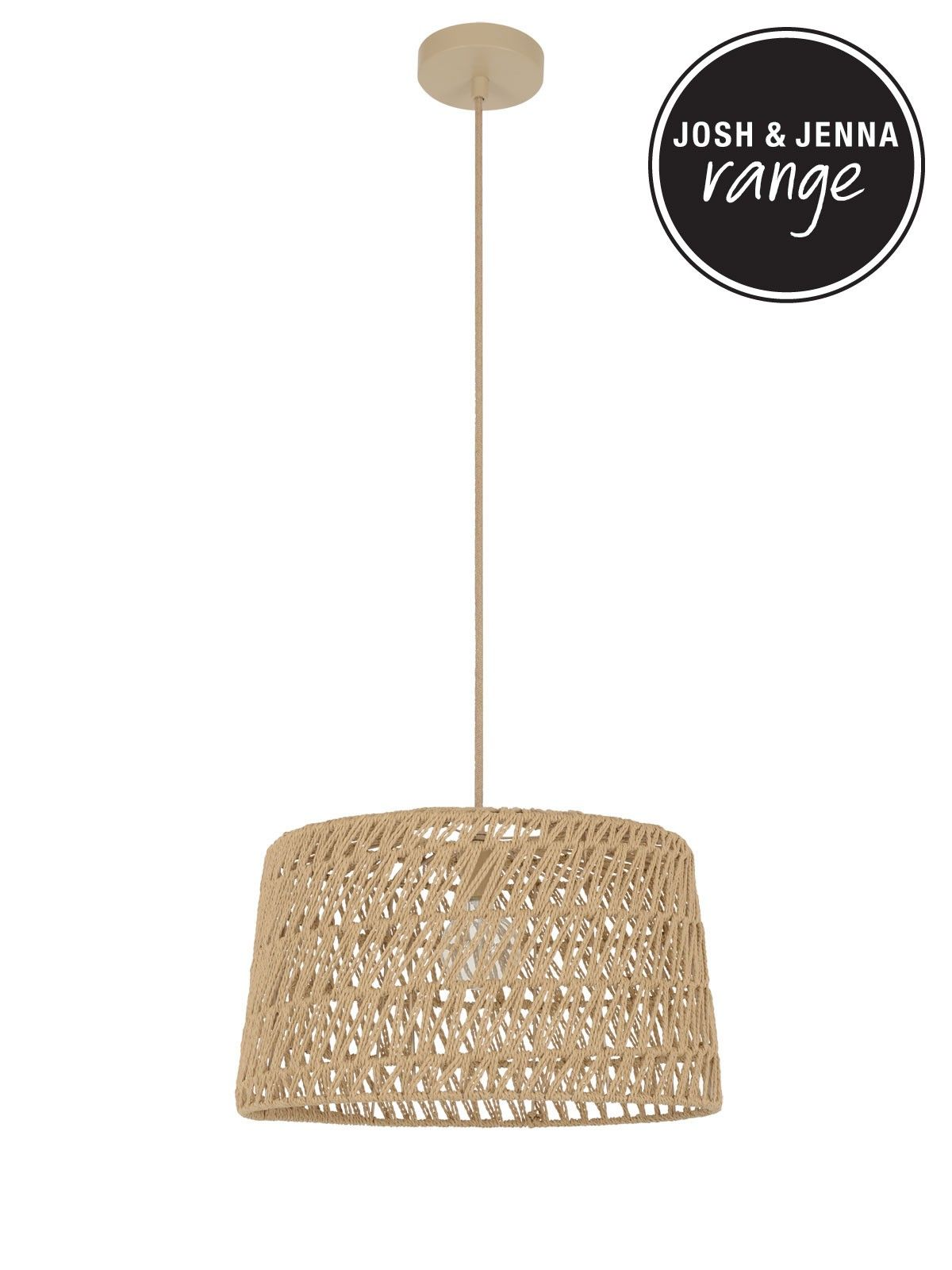 8e89339479be Byron 1 Light Medium Pendant in Natural Weave Natural Weave