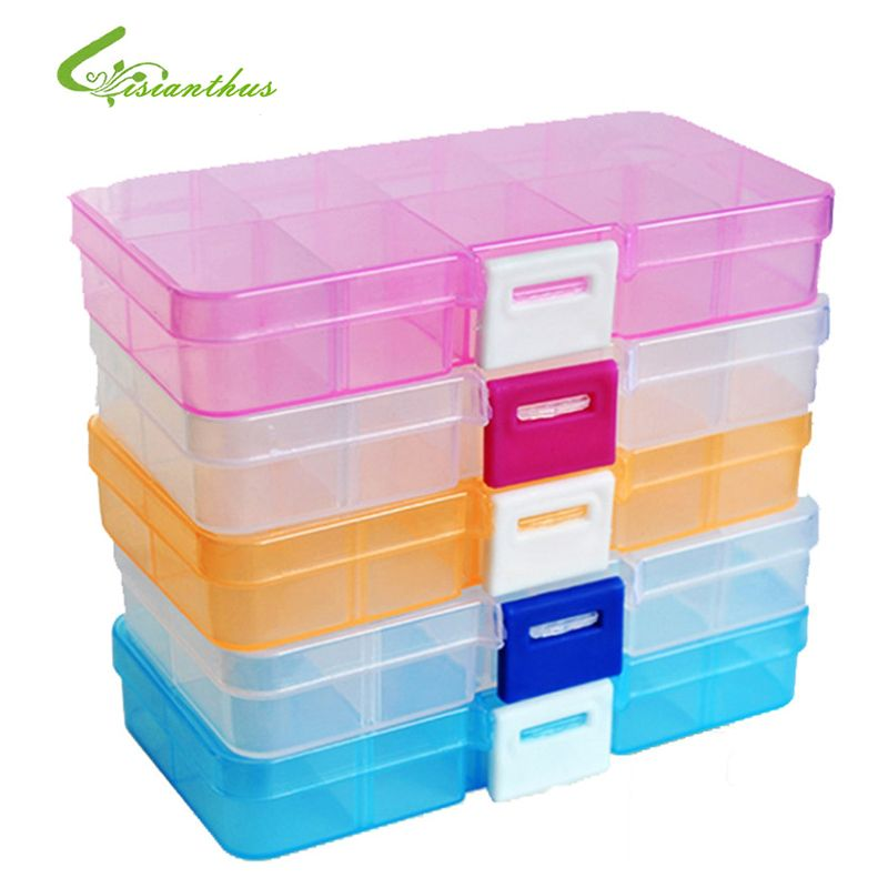 10 Compartment Plastic Storage Box Compact Adjustable Jewelry