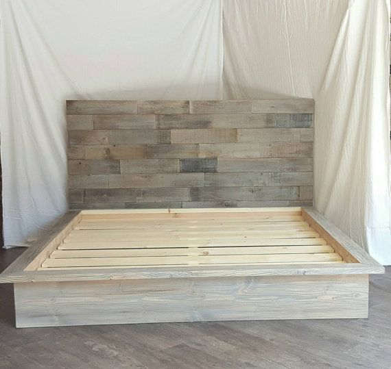 Steph Grey Driftwood Finished Platform Bed With Horizontal Staggered