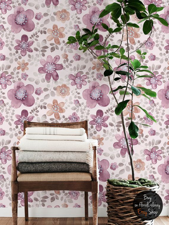 Cute pink and purple flowers wallpaper Watercolor wall