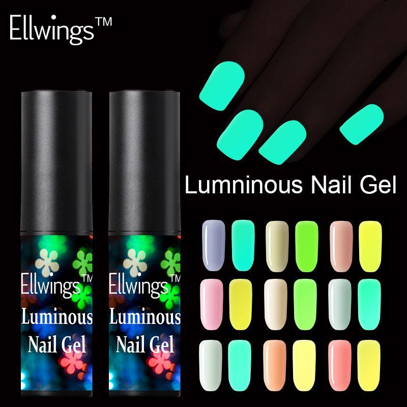 Ellwings Fluorescent Neon Luminous Nail Gel Polish Soak Off UV Gel ...