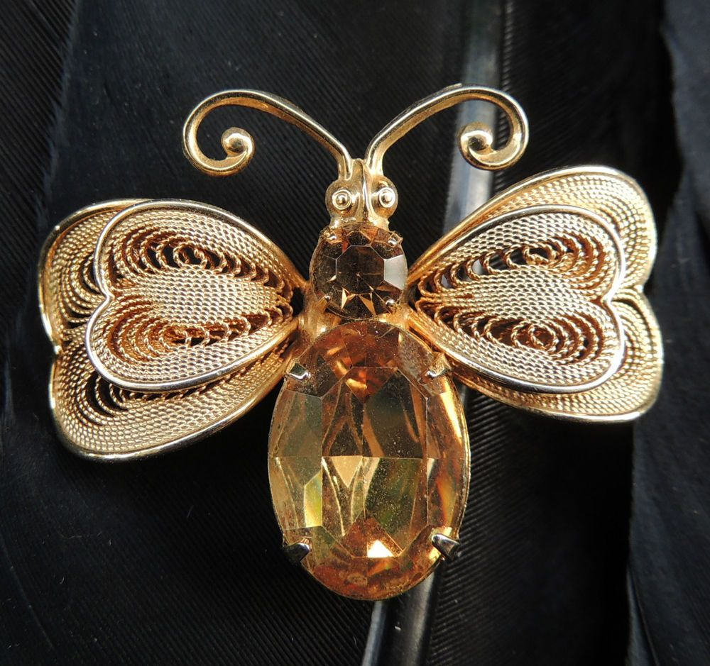 "CUTE ESTATE GOLD TONE YELLOW RHINESTONE BUTTERFLY BEE BROOCH 1 3/8"" X 1 11/16"" 
