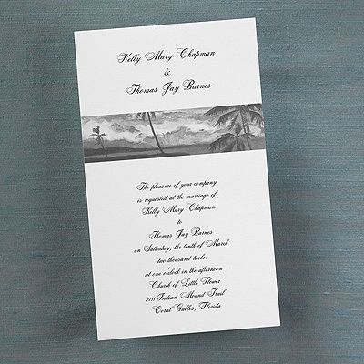 This black and white, card invitation featuring tropical skies will create an elegant feel to any beach or destination wedding.