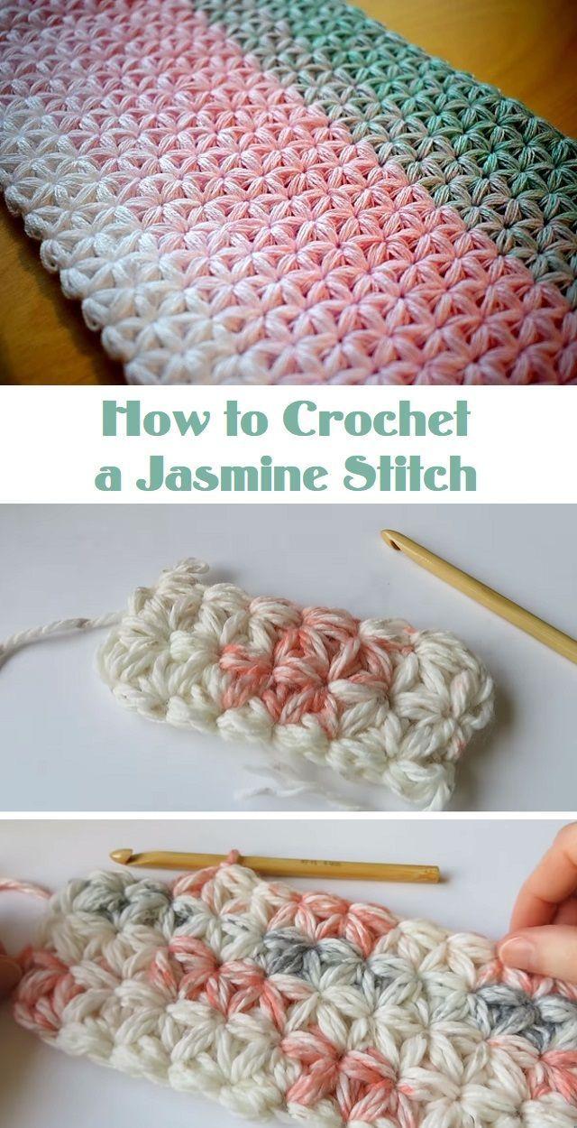 COMMENT CROCHETTRE UN POINT DE JASMIN – tricoter est aussi simple que tricoter 1, 2, 3 …   – Häkeln