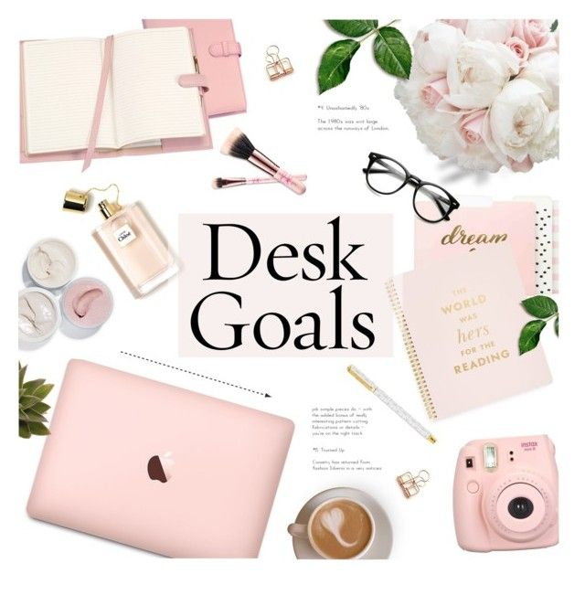 """""""Desk Goals ~ Pink!"""" by alexandrazeres ❤ liked on Polyvore featuring interior, interiors, interior design, home, home decor, interior decorating, Threshold, Kate Spade, Royce Leather and Fujifilm"""