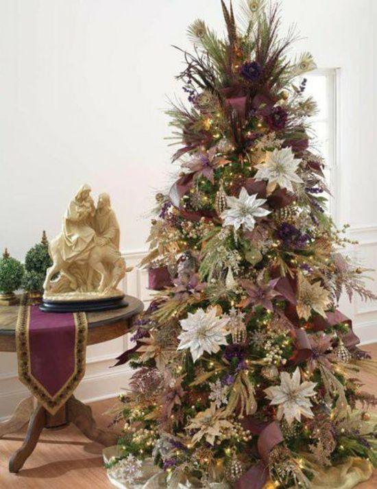 Schmuck Für Weihnachtsbaum.Lila Schmuck Weihnachtsbaum Blumen Purple Christmas Tree