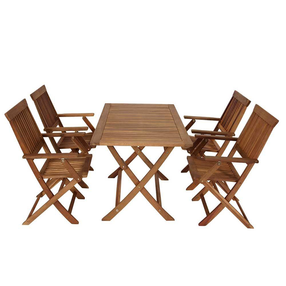 Gartentischgruppe aus Akazie Massivholz klappbar (5-teilig) Jetzt ...