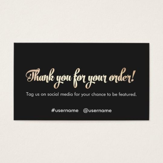 Customer Reciation Thank You For Your Order Business Card Cards