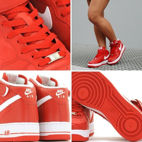 Nike Air Force 1 Mid Women Red White  b489ced05