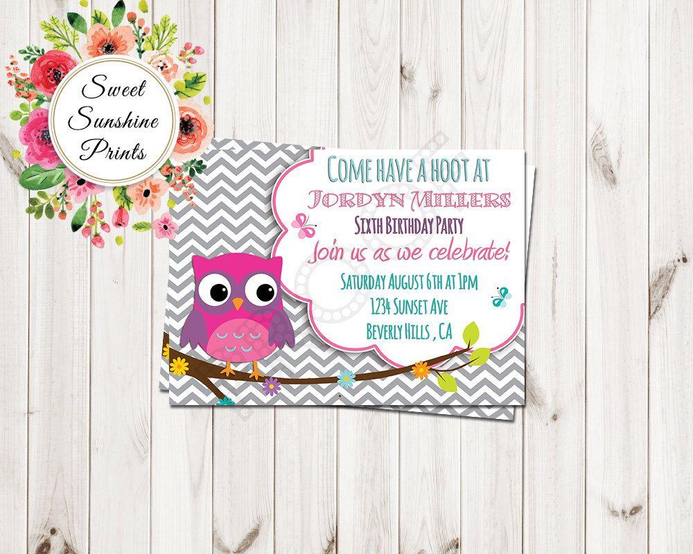 Chevron Owl Birthday Invitation- Girl birthday invitation- 1st ...