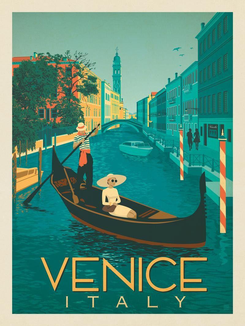Square Scenic Canvas Wall Art Photo Picture Print Vintage Venice Gondola Retro