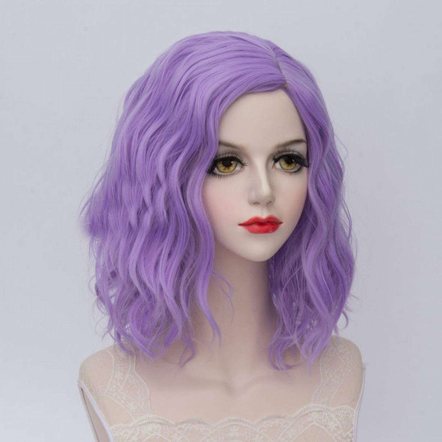 Short Light Purple Curly Heat Resistant Anime Party