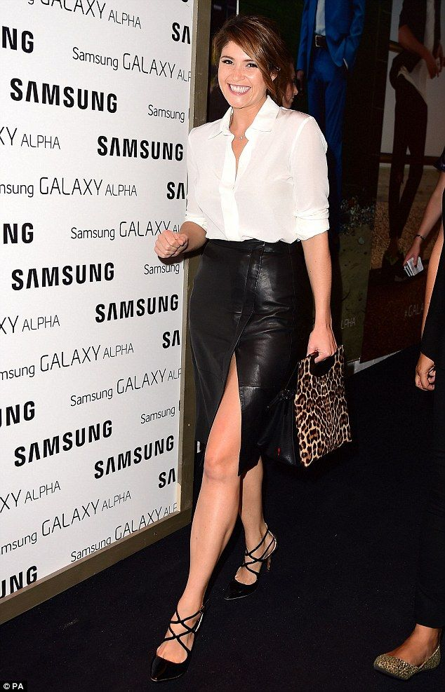 Gemma Arterton flashes legs in leather pencil skirt with a split ...