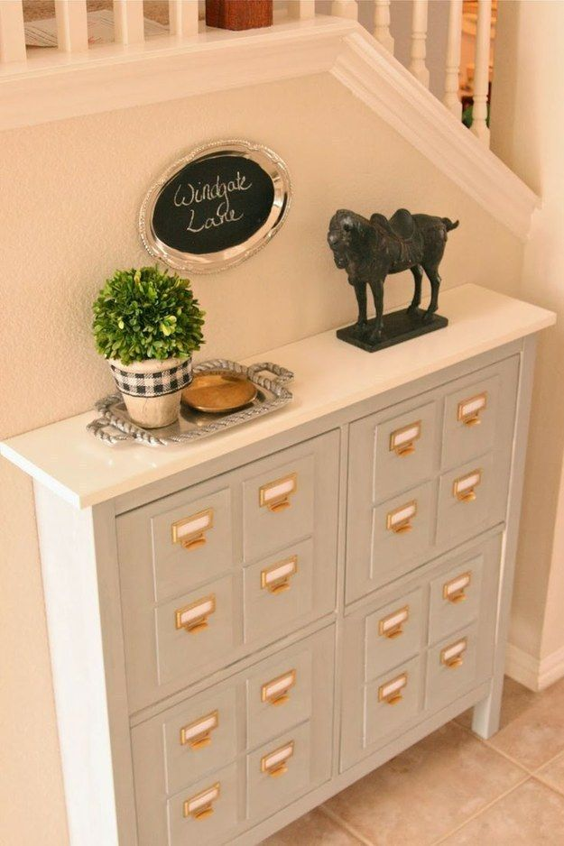 Replace Drawer Pulls With Library Card Catalog Hardware.