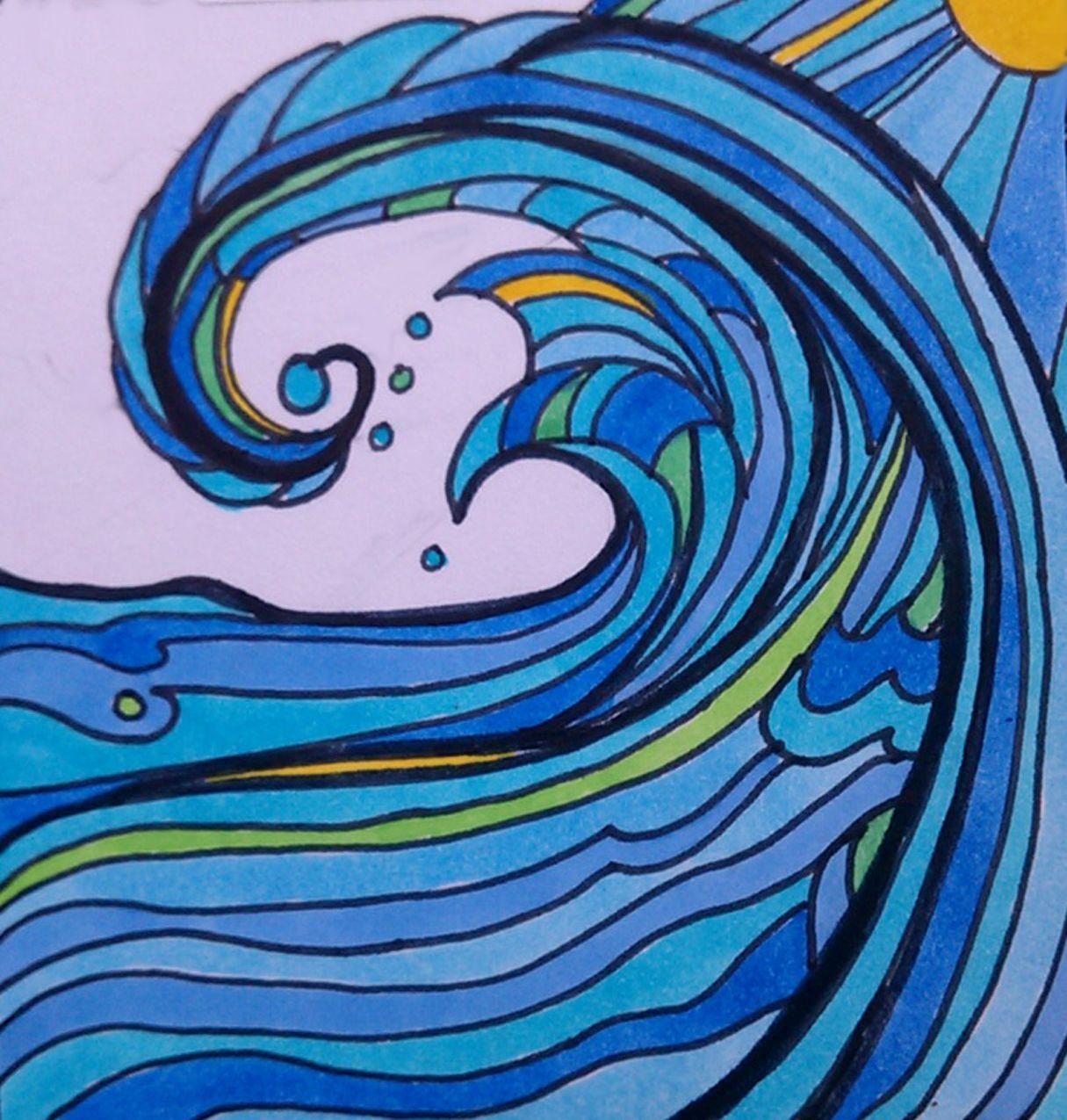 Images For Gt Crashing Waves Sketch