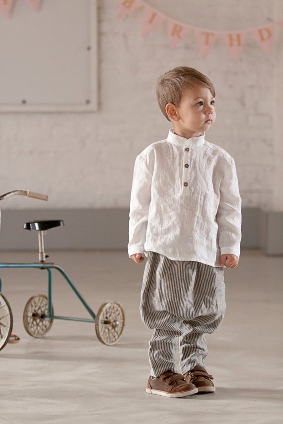 8a9fbe6f5 Boys clothes Linen shirt White shirt Toddler outfit Ring bearer Shirt  Formal wear Boys Wedding party