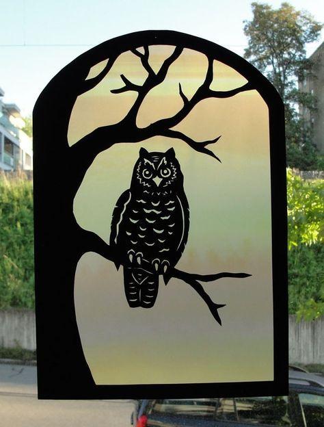Ideen Zum Basteln Mit Kindern Fensterbilder Herbst Motive Eule Baumast Fensterbilder Herbst Scherenschnitt Eule Fensterbilder