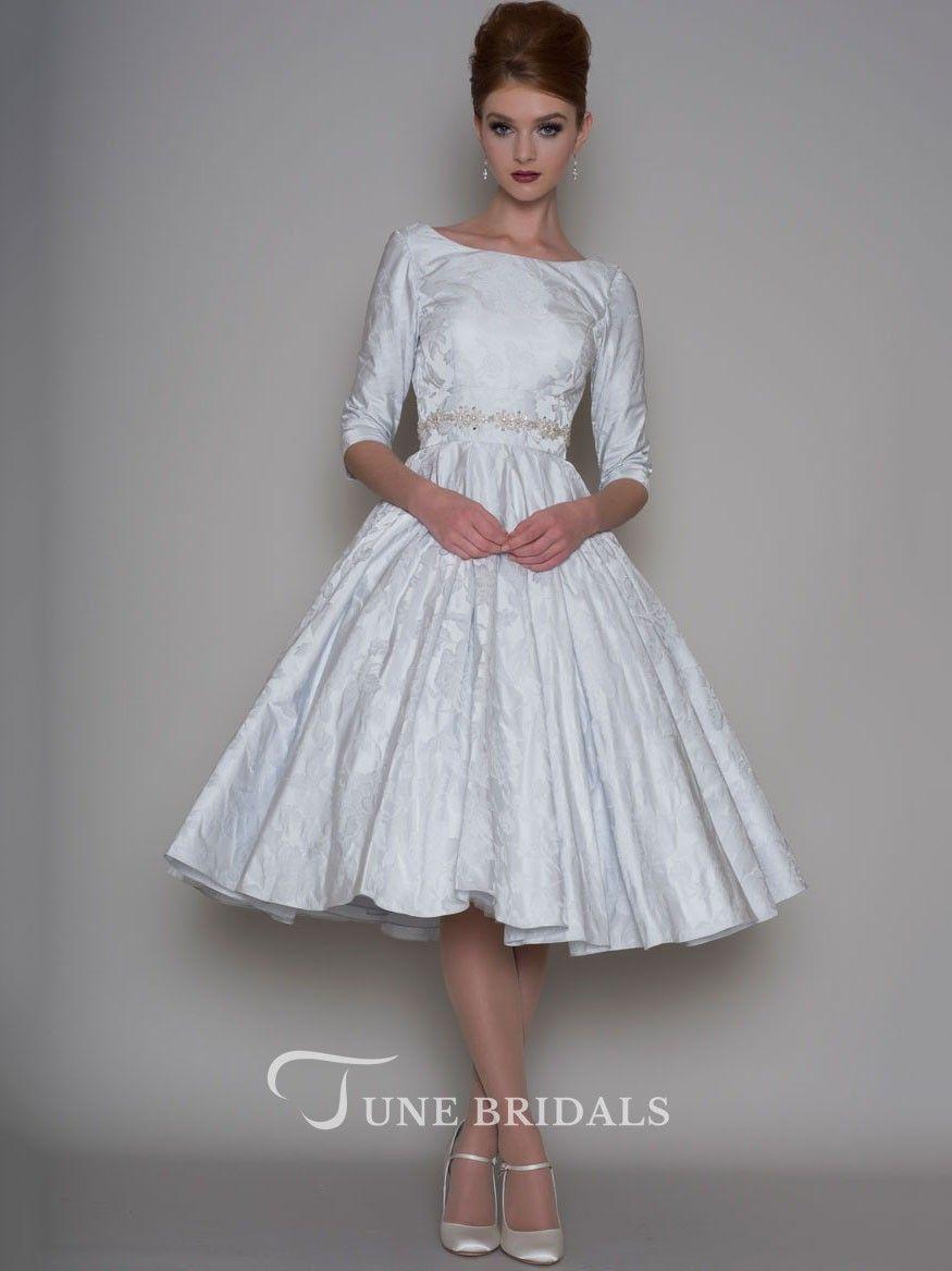 Aline tealength sleeve bateau neck jeweled satin wedding dress