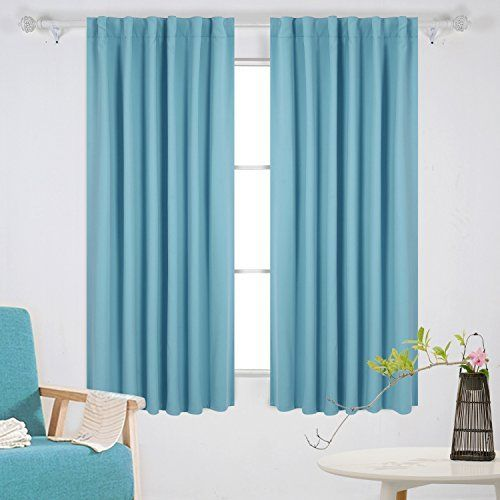 Deconovo Solid Color Back Tab And Rod Pocket Black Curtains 1 Pair By