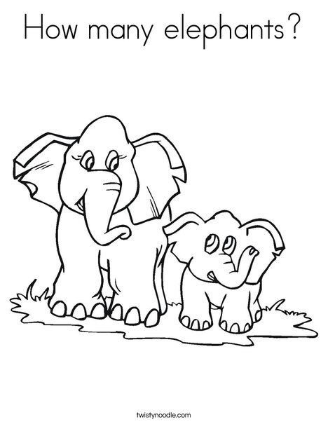 How many elephants? Coloring Page | Elephants Coloring Book ...
