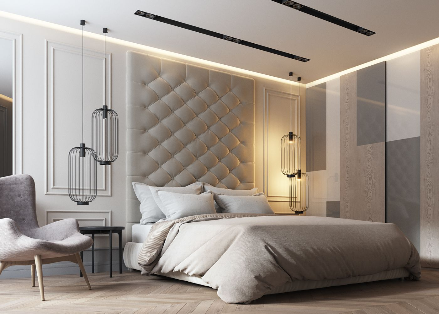 Apartments in UkraineDesign: DE&DE interior studioVisualization: Max  Tiabys, Max Shpak (VizLine Studio. Contemporary Bedroom DesignsModern ...