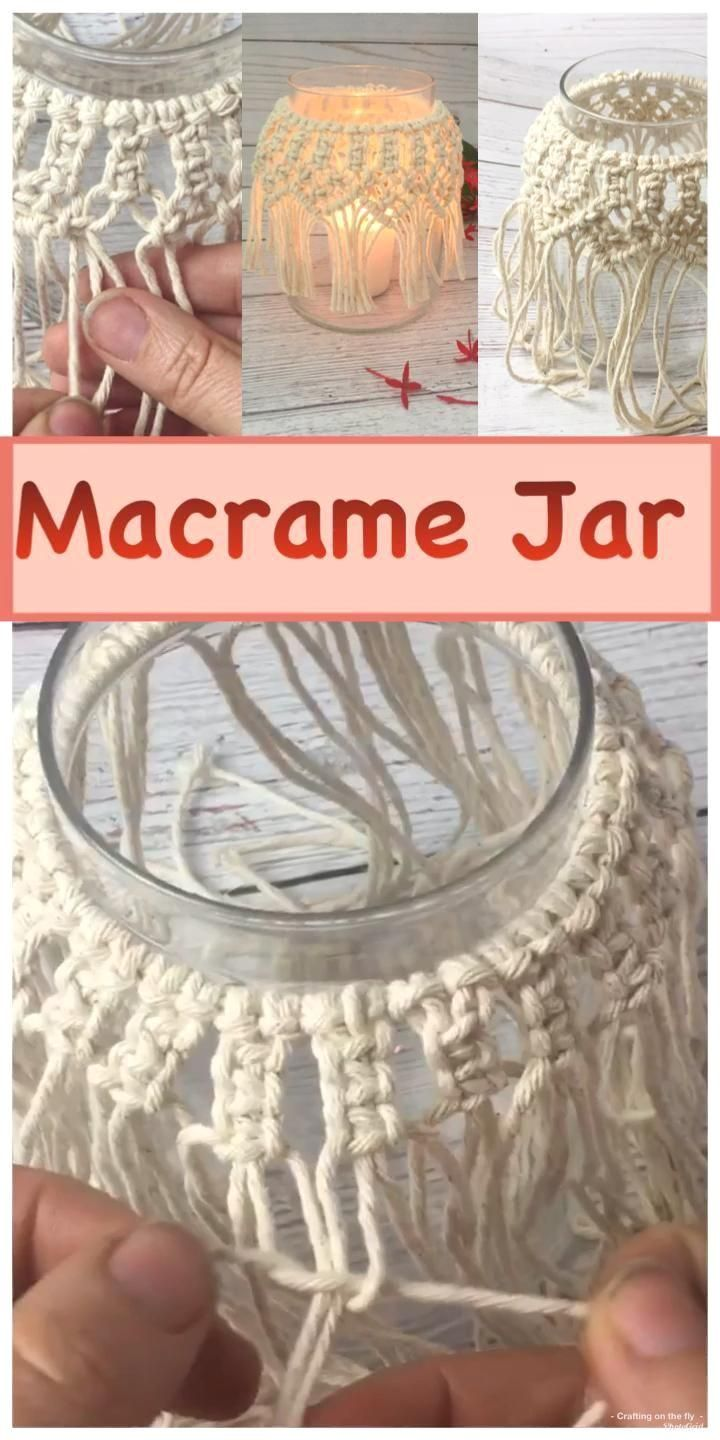 DIY Macrame Candle Holder Tutorial - Crafting on the Fly : DIY Macrame Candle Jar Tutorial. Learn how to make this Macrame Jar with easy Macrame knots and full step by step instructions #macrame #diy #masonjars #macrameknots  #Macrame #Candle #Holder