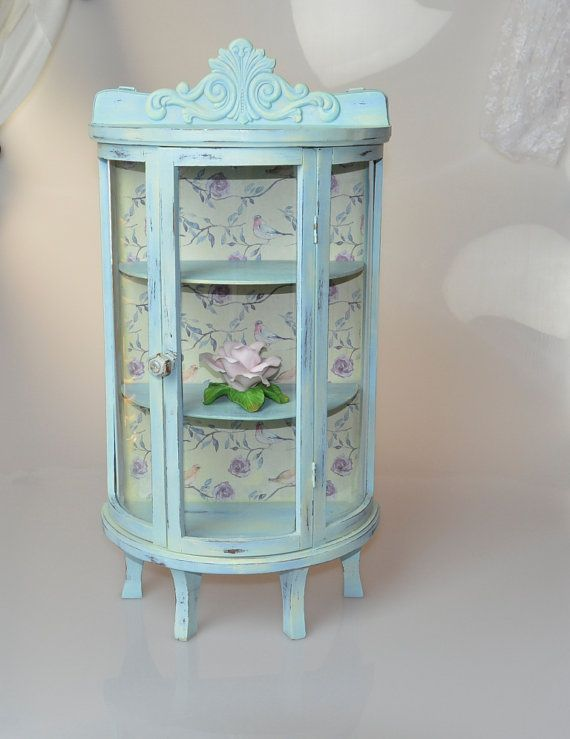 Shabby Chic Glass Display Curio Cabinet Wall Hanging By Ywart Glass Display Case Shabby Chic Shabby