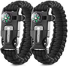 Men Outdoor Survival Wrist Rope Camping Hiking Flint Bracelet Emergency Paracord