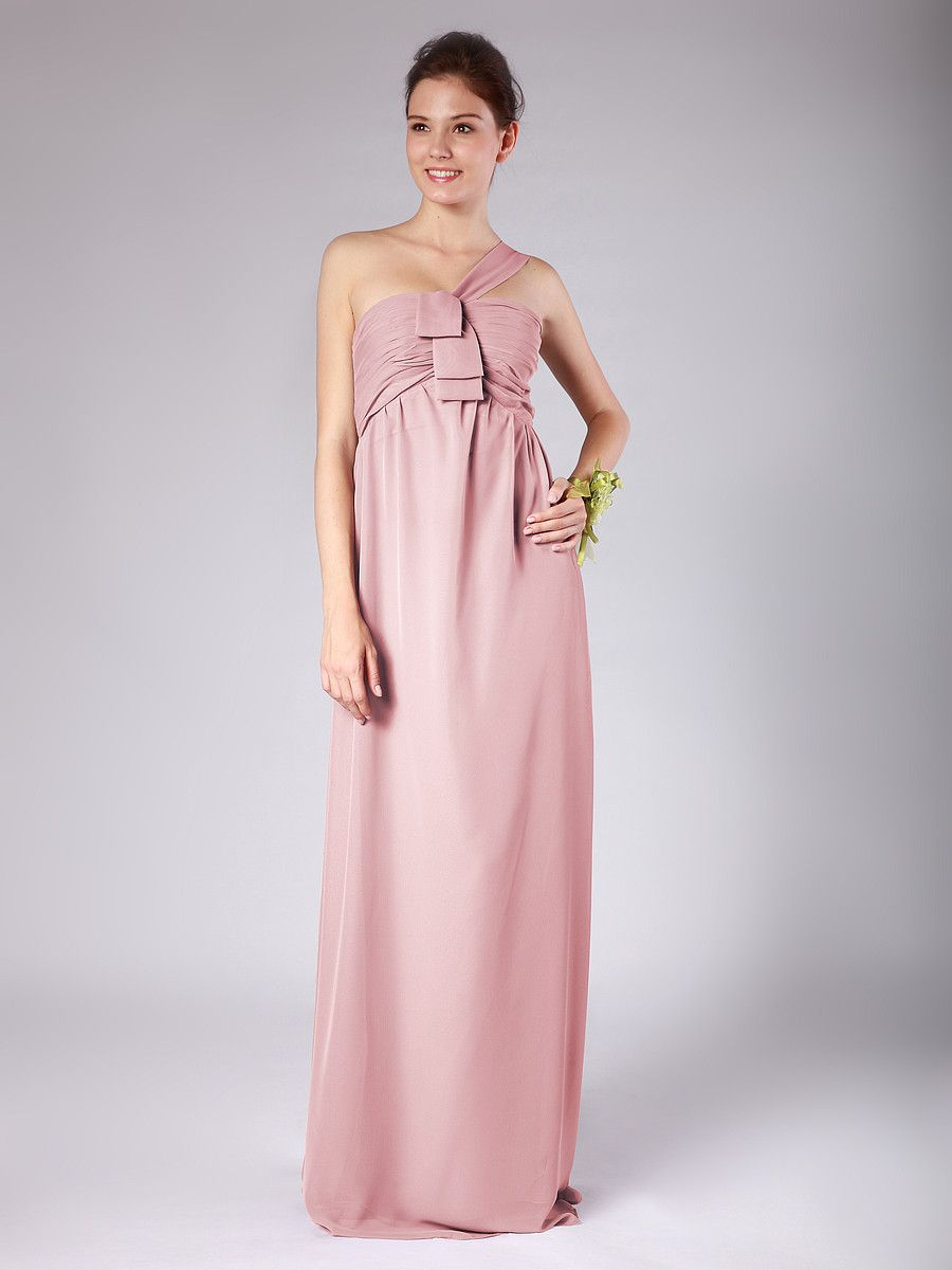 One Shoulder Chiffon Bridesmaid Dress | <Tiny Humans> | Pinterest