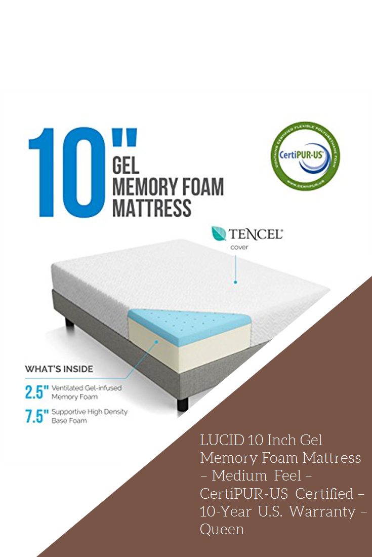 Lucid 10 Inch Gel Memory Foam Mattress Medium Feel Certipur Us